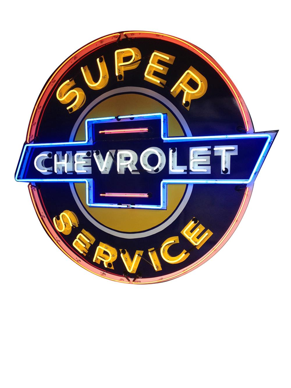 Highly prized large 1940's Chevrolet Super Service single-sided neon porcelain dealership sign - Front 3/4 - 184827
