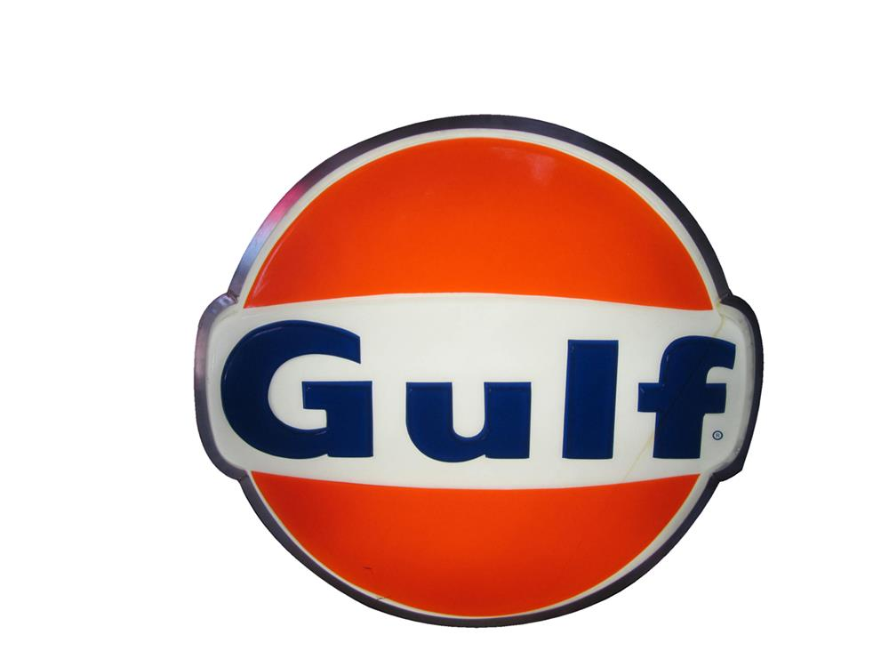 Sharp Gulf Oil single-sided light-up logo shaped service station sign. - Front 3/4 - 184833