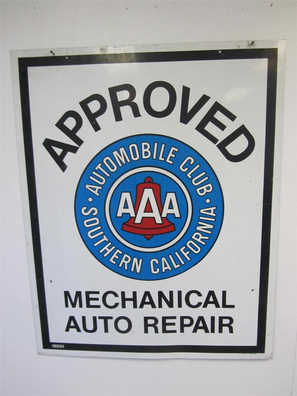 Vintage Triple A of Southern California Approved Repair Station double-sided tin sign. - Front 3/4 - 184838