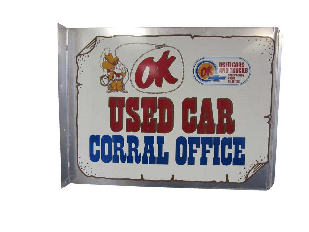 Highly desirable Chevrolet OK Used Cars Corral office double-sided tin dealership flange sign. - Front 3/4 - 184841