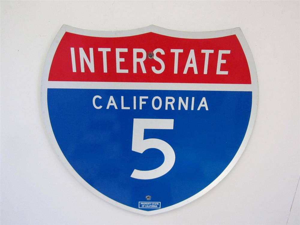 Very clean California Interstate 5 highway metal road sign. - Front 3/4 - 184844