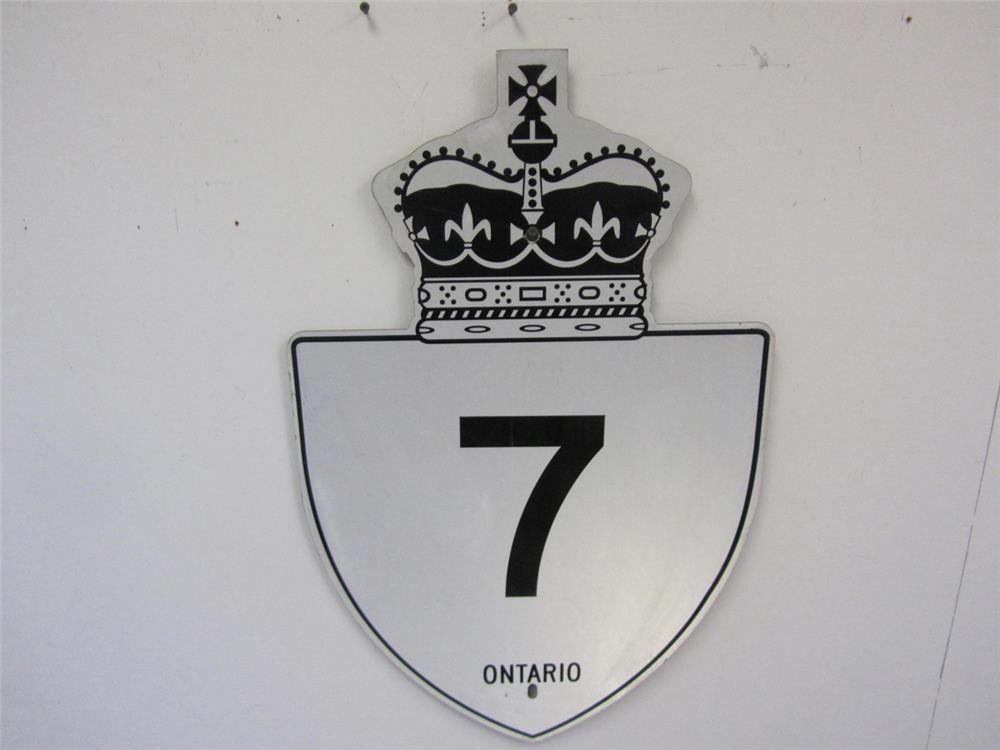 "Ontario Highway 7 ""The King's Highway"" metal road sign. - Front 3/4 - 184847"