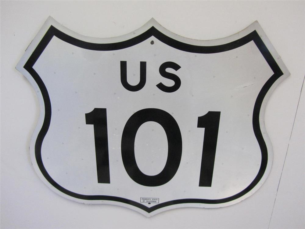 "Desirable US 101 highway ""Pacific Coast Highway"" die-cut metal road sign. - Front 3/4 - 184849"