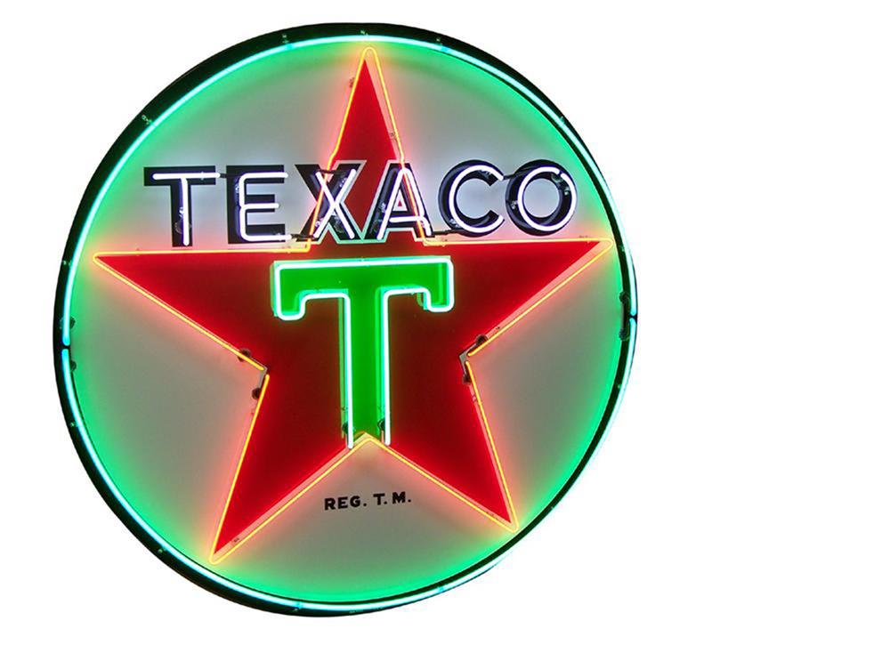 Striking late 1950s Texaco Oil single-sided porcelain with neon service station sign. - Front 3/4 - 184856