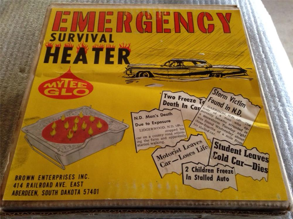 Early 1960s MyTee Glow Emergency Car Survival Heater automotive garage poster with period graphics. - Front 3/4 - 184860