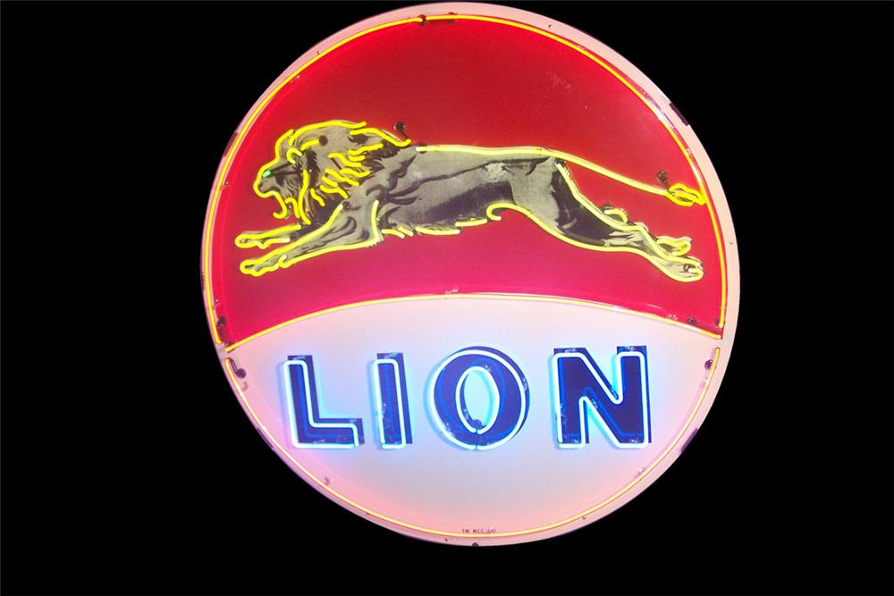 Rarely seen 1950s Lion Oil single-sided porcelain neon service station sign with leaping lion graphic. - Front 3/4 - 184865