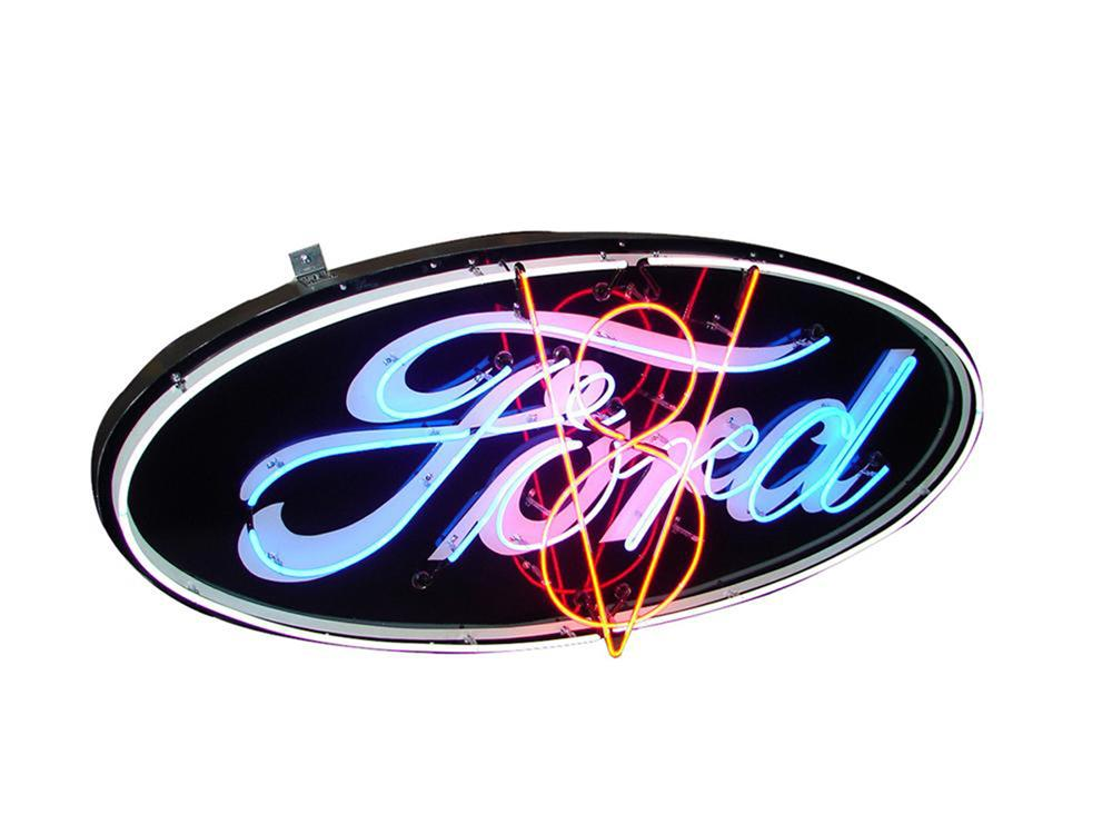 Lot #5897 Outstanding 1930s Ford V-8 single-sided porcelain with neon dealership sign.