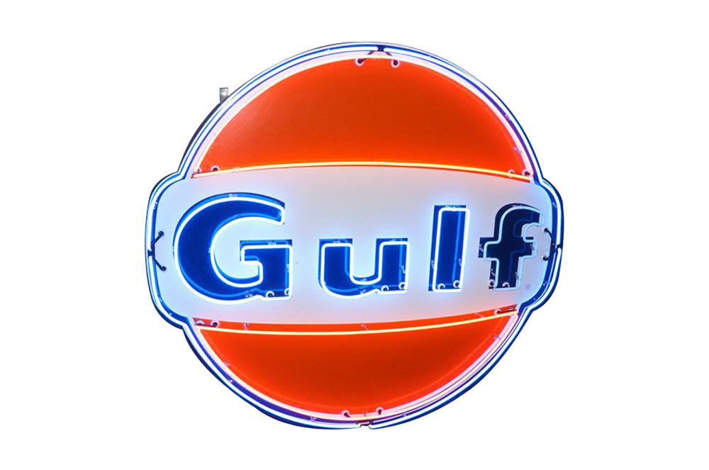 Lot #5896.1 Spectacular 6' tall late 1950s Gulf Oil single-sided porcelain with animated neon sign.