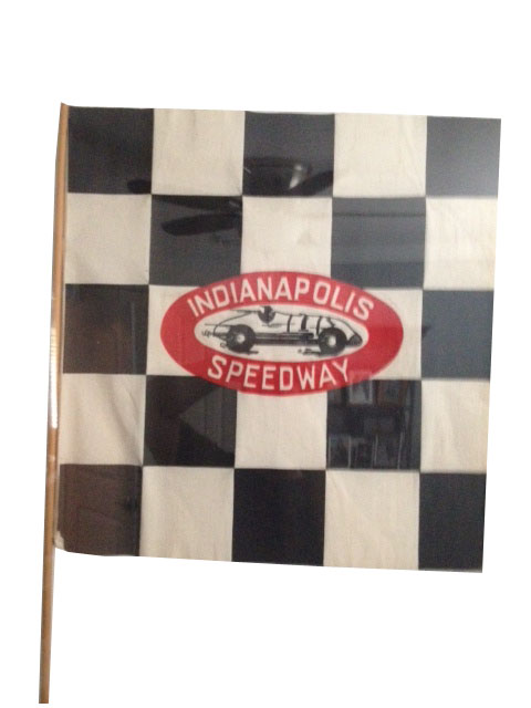 Neat 1950s Indianapolis Speedway souvenir checkered flag with period racer graphic. - Front 3/4 - 185208