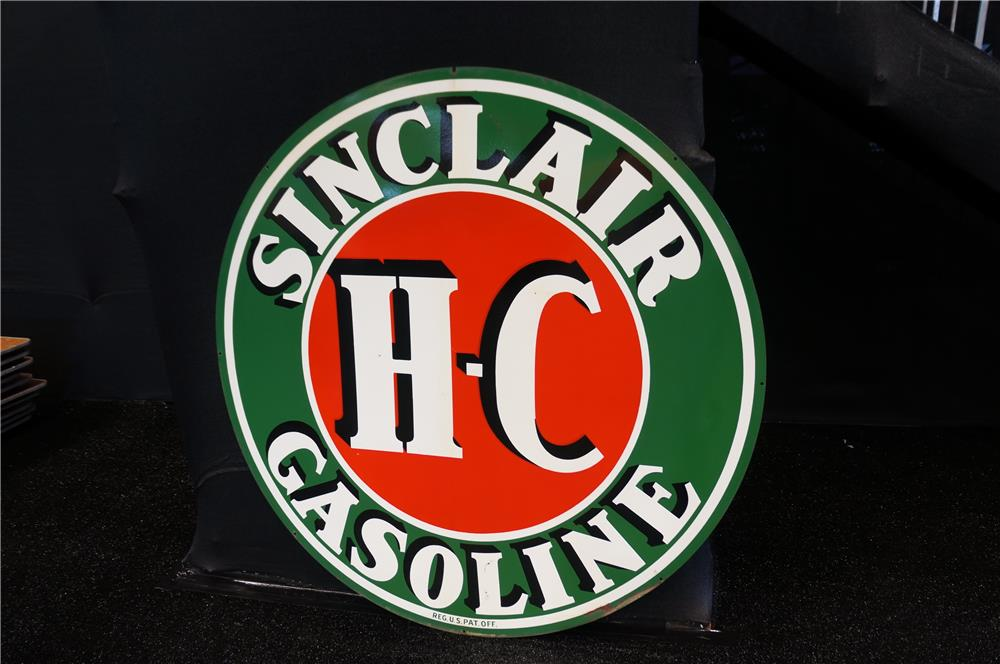 Addendum Item - Large 1930s HC Sinclair Gasoline double-sided porcelain service station sign. - Front 3/4 - 185235