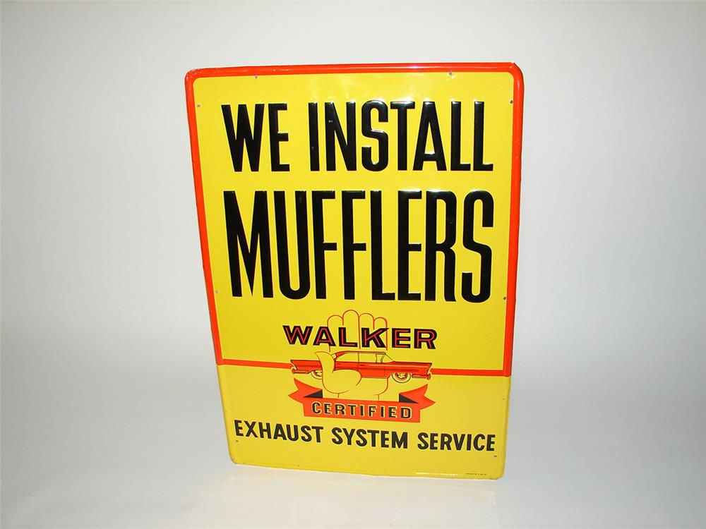 Addendum Item - Nifty 1950s We Install Walker Mufflers single-sided embossed tin garage sign with period car graphic. - Front 3/4 - 185246