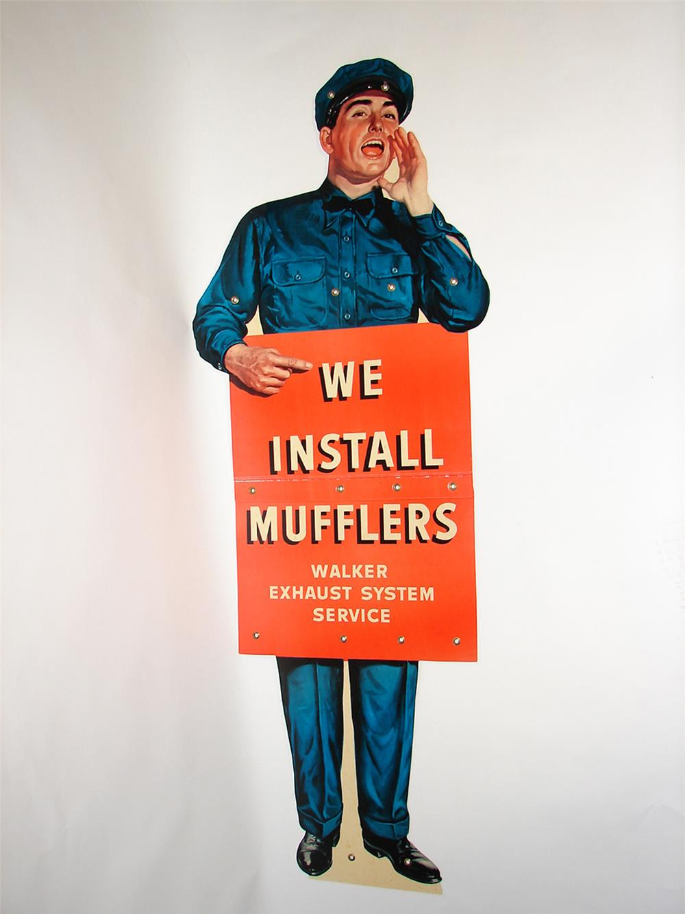 Addendum Item - Large NOS 1950s Walker Muffler Systems die-cut cardboard service garage attendant sign. - Front 3/4 - 185344