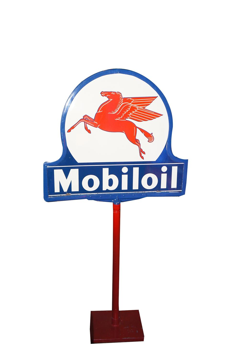 Addendum Item - Beautiful Mobil Oil double-sided porcelain service station curb sign on stand with killer Pegasus logo. - Front 3/4 - 185347