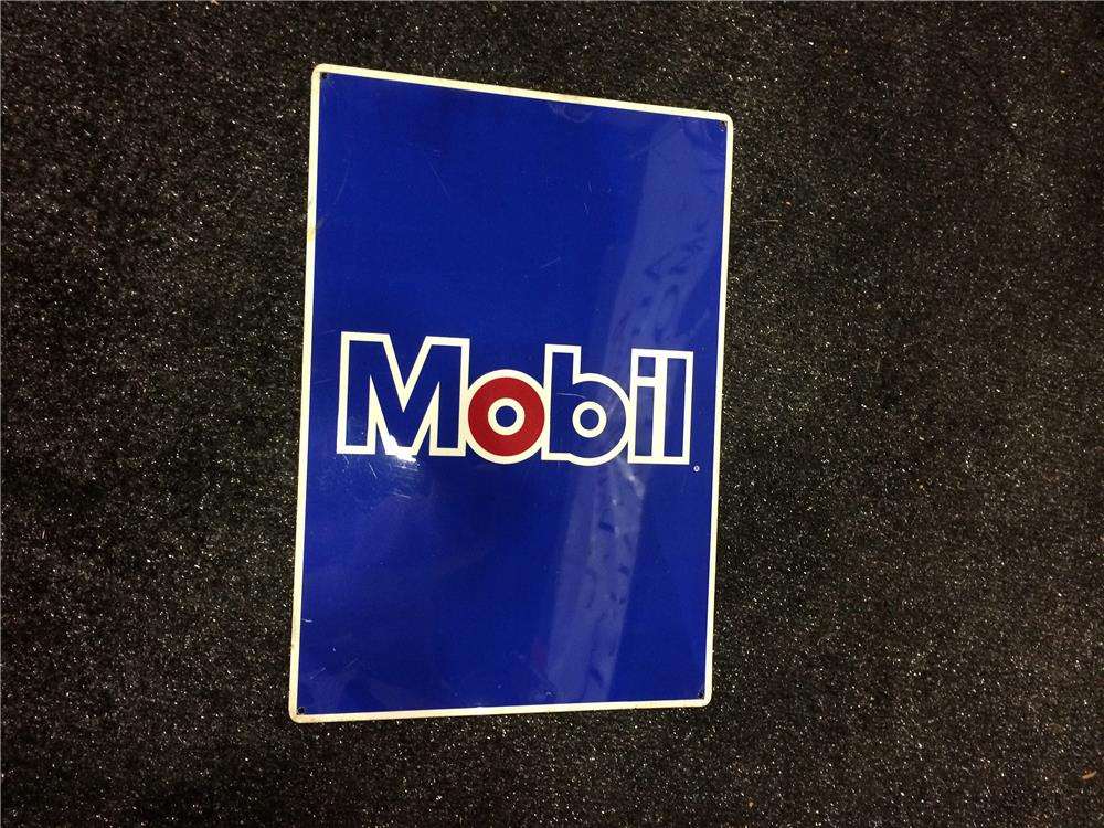 Addendum Item - 1970's Mobil Oil single-sided tin service station sign. - Front 3/4 - 185361