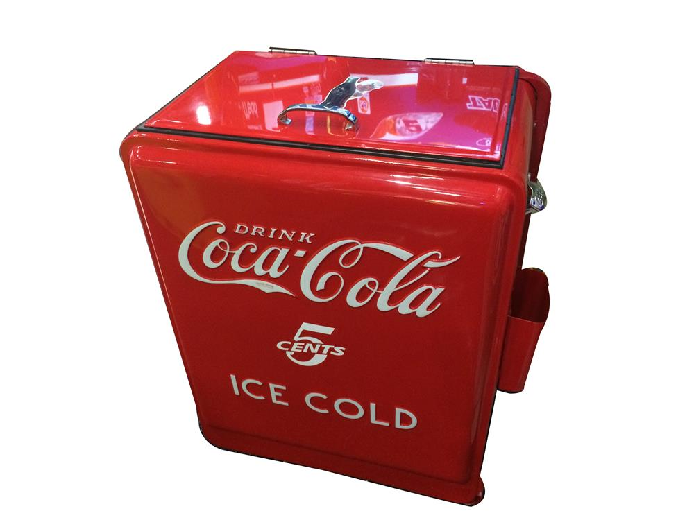 Addendum Item - Beautiful 1930's Coca-Cola Westinghouse restored junior refrigerated general store/filling station cooler. - Front 3/4 - 185377