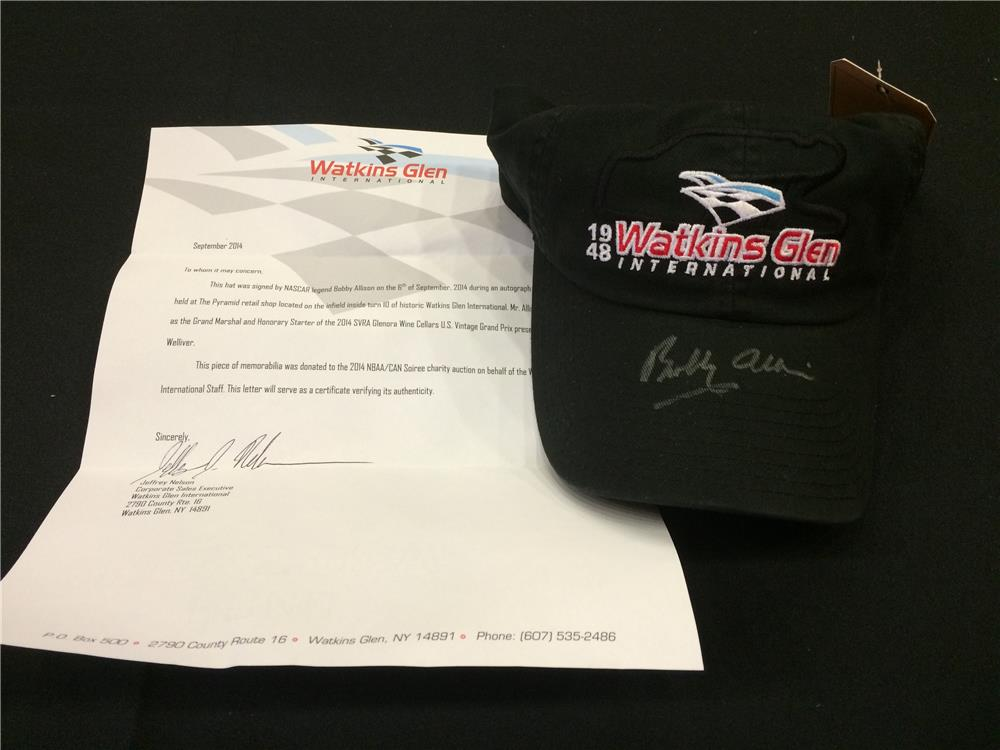 Addendum Item - Legendary Nascar Driver Bobby Allison autographed Watkins Glen International ball cap. - Front 3/4 - 185380