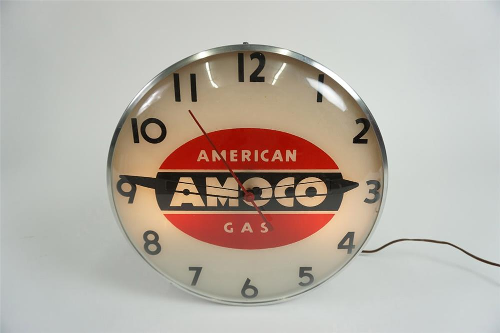 Choice 1950's Amoco American Gasoline glass faced light-up service station clock. - Front 3/4 - 185941