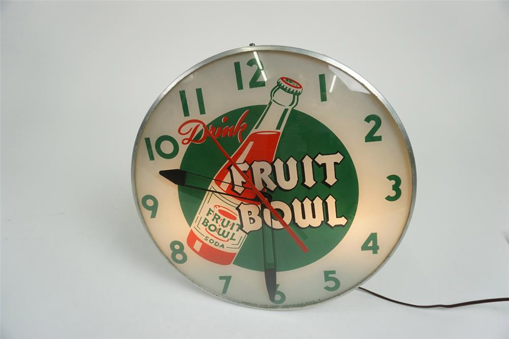 Hard to find early 1950's Fruit Bowl soda glass faced light-up diner clock. - Front 3/4 - 185942