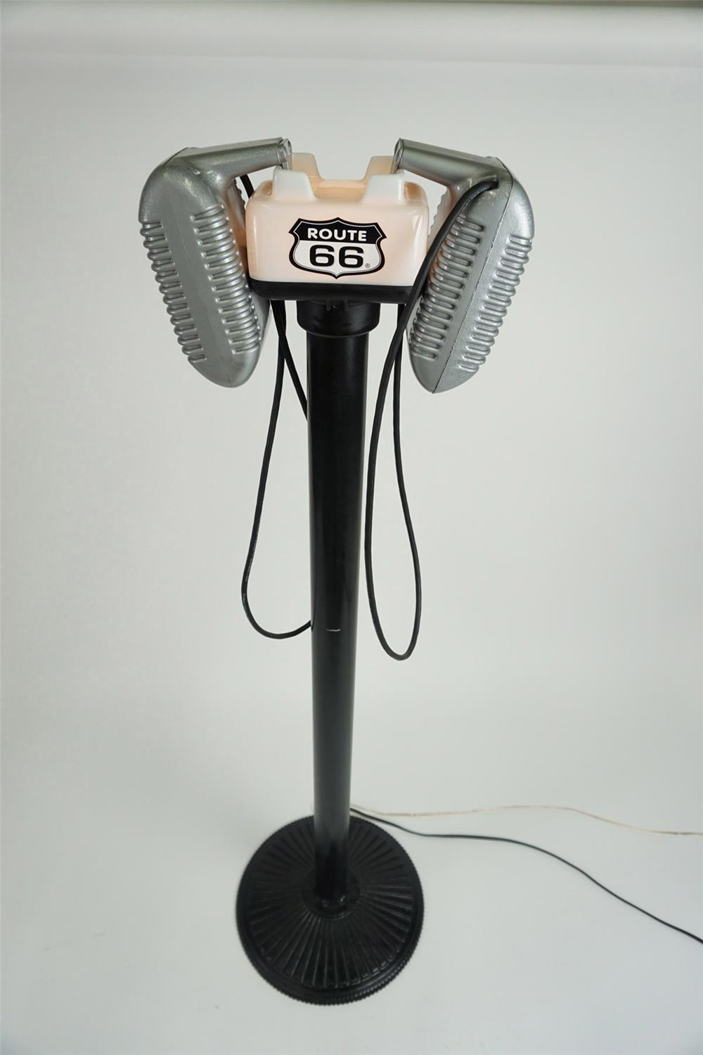 Neatly restored vintage Route 66 drive-in speakers with lighted top on stand. - Front 3/4 - 185951