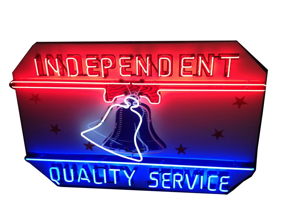 Incredible 1940's Independent Gasoline Quality Service single-sided porcelain service station sign with animated neon. - Front 3/4 - 185957