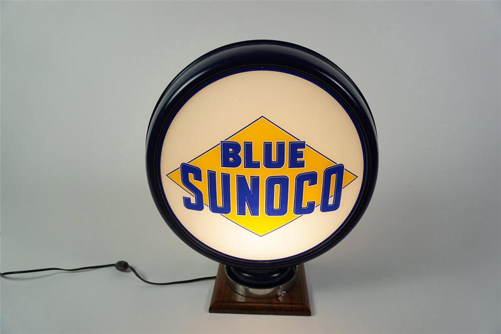 Extremely hard to find 1930s Blue Sunoco gas pump globe in a high profile metal body. - Front 3/4 - 185959