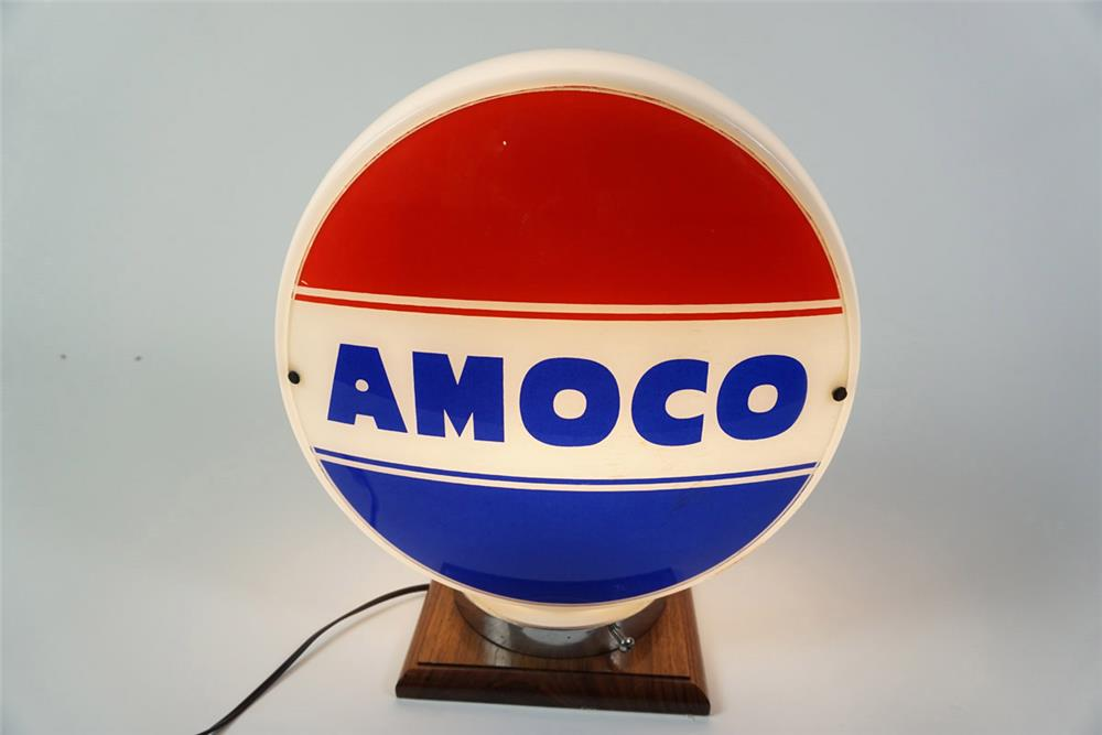 "Choice 1940s-50s Amoco ""American Oil Company"" glass-bodied gas pump globe. - Front 3/4 - 185961"