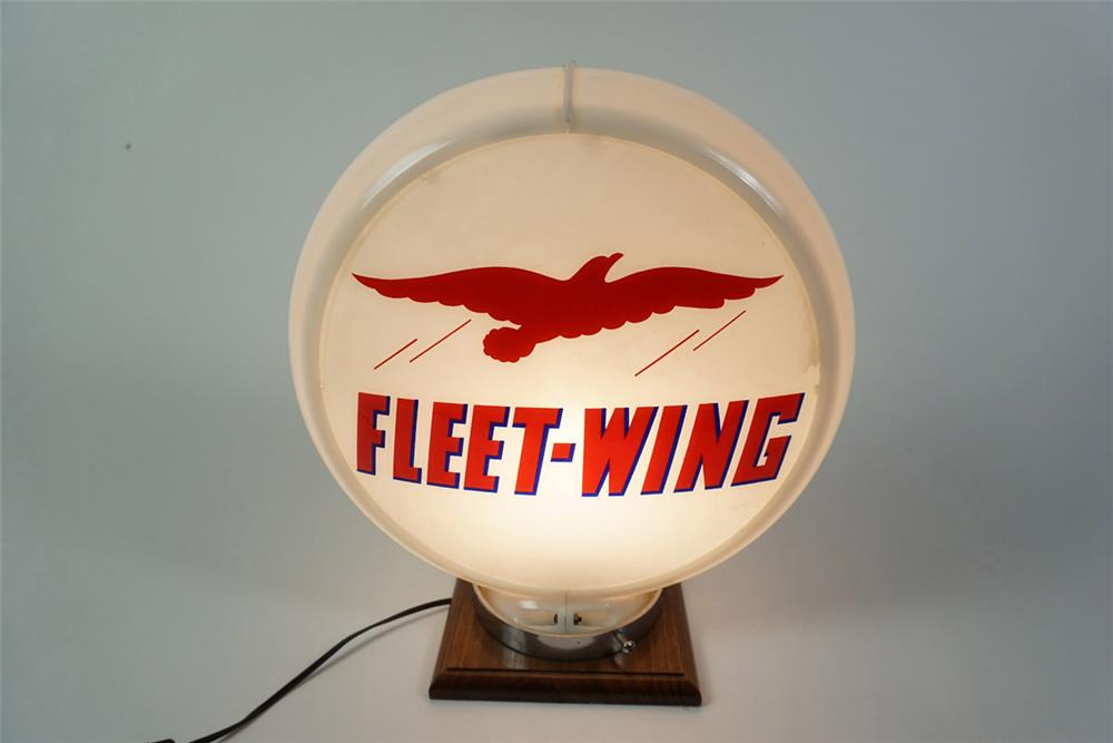Highly prized Fleet-Wing Gasoline gas pump globe with soaring bird logo - Front 3/4 - 185962