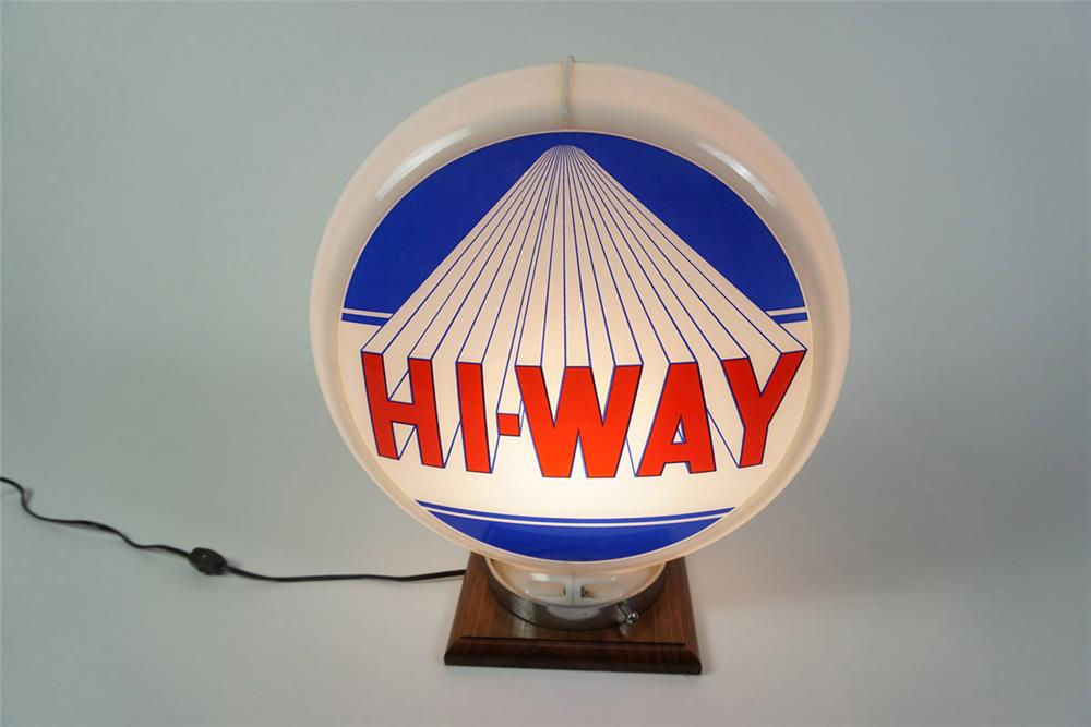 Seldom Seen Circa 1950s Hi-Way Gasoline gas pump globe in a Capcolite body. - Front 3/4 - 185964