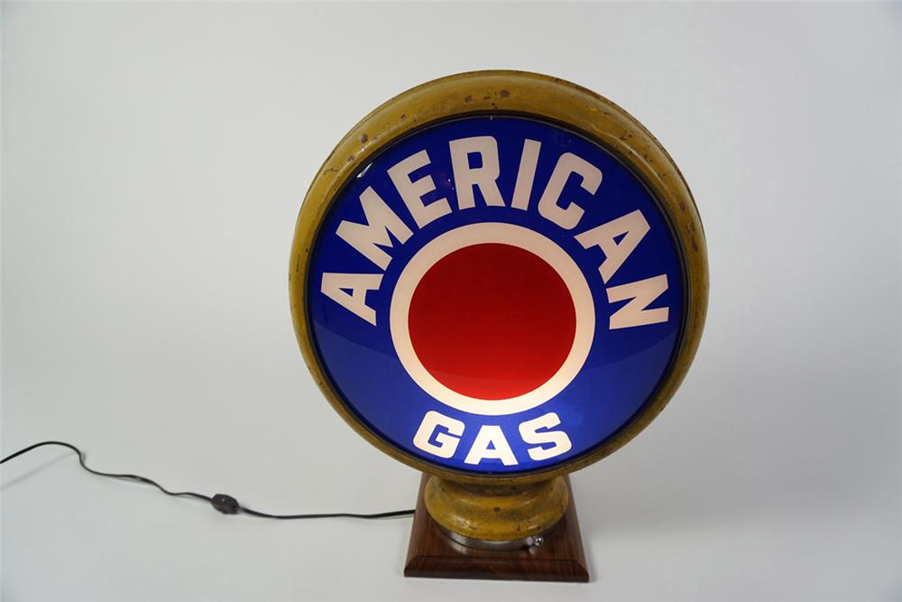 Wonderful late 1920s-early 30s American Gas gas pump globe in a high profile metal body. - Front 3/4 - 185966