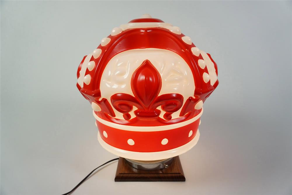 Outstanding Circa 1930s-40s Standard Oil Red Crown Gasoline one-piece milk glass gas pump globe. - Front 3/4 - 185976