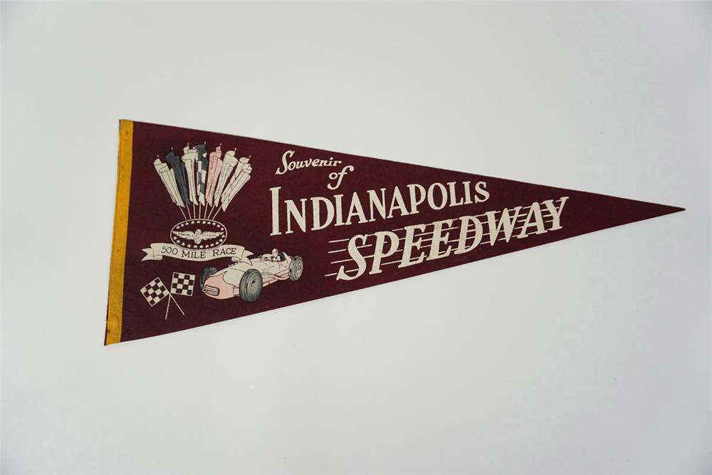 "Circa late 1940s early 1950s Indianapolis Speedway ""500 Mile Race"" souvenir pennant with wonderful artwork. - Front 3/4 - 185978"