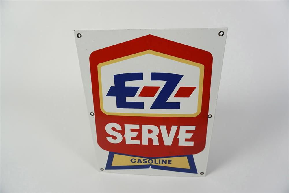 NOS 1950s EZ Service Gasoline single-sided porcelain pump plate sign. - Front 3/4 - 185985