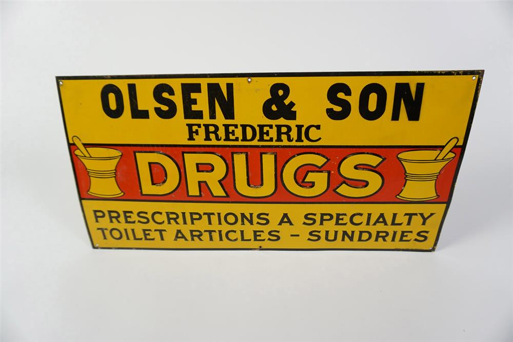 NOS 1920s Drug Store tin sign with mortar and pestle graphic. - Front 3/4 - 185987