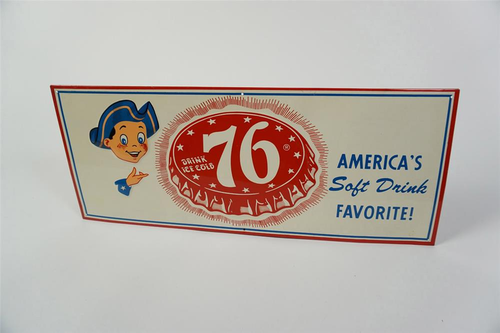 Fantastic NOS 76 Cola single-sided embossed tin soda sign with cute graphics. - Front 3/4 - 185989