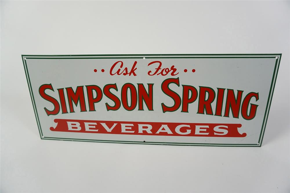 NOS 1940s Simpson Spring Beverages Soda single-sided tin sign. Found in unparalleled condition! - Front 3/4 - 185990
