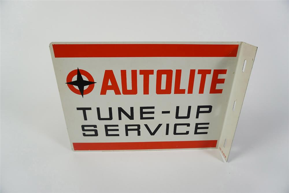 Very unusual early 1960's Autolite double-sided tin service department flange sign. - Front 3/4 - 185991