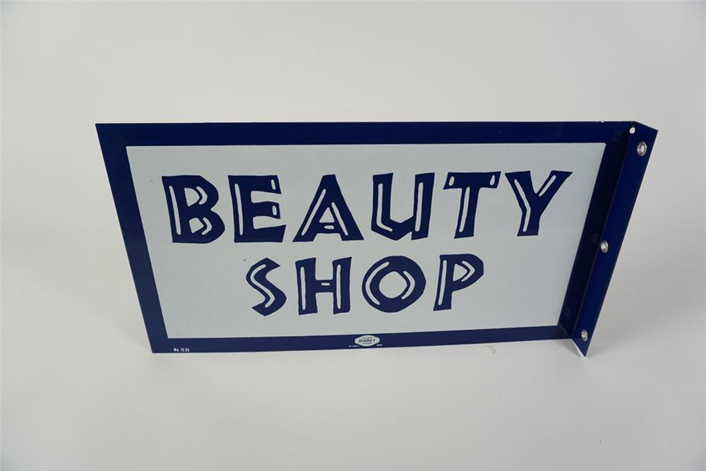 Gorgeous NOS late 1950s early 60's Beauty Shop double-sided porcelain flange sign. - Front 3/4 - 185992