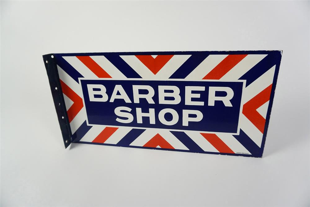 Circa 1940s-50s Barber Shop double-sided porcelain flange sign. - Front 3/4 - 185993