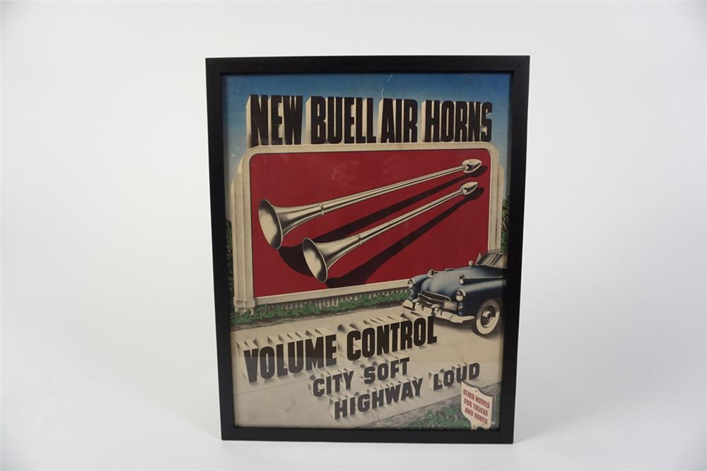 Very cool 1950s Buell Air Horns single-sided cardboard automotive garage sign. - Front 3/4 - 185996