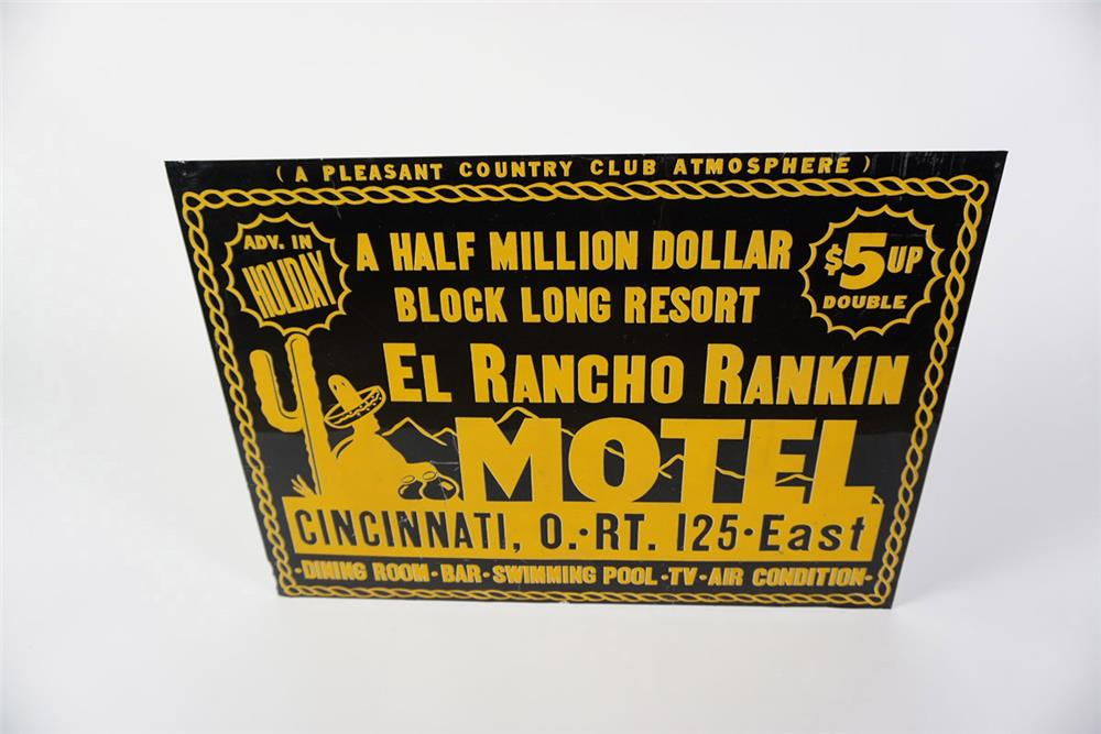 "Wonderful early 1950s El Rancho Rankin Motel ""A Pleasant Country Club Atmosphere"" single-sided tin sign. - Front 3/4 - 185998"
