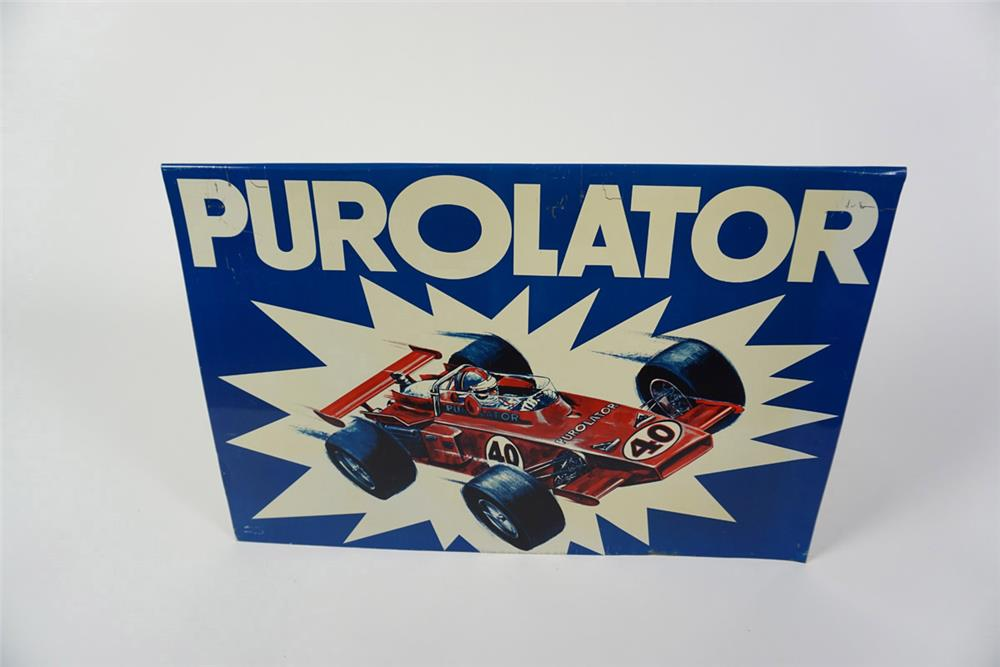 Phenomenal 1960's Purolator Engine Oil filters single-sided tin sign with Indy car graphic. - Front 3/4 - 186000