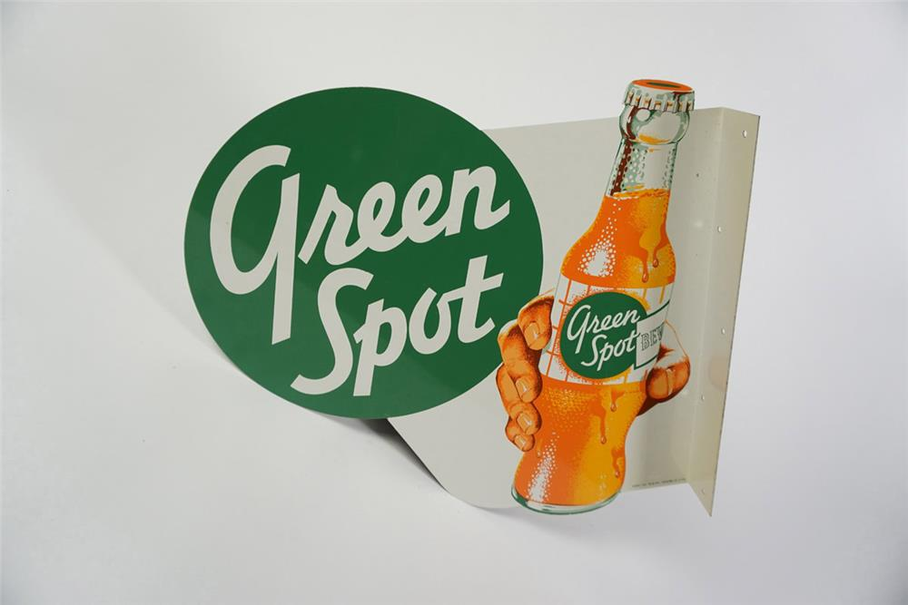 Killer NOS 1950s Green Spot Orange Soda double-sided tin flange sign with hand/bottle graphic. - Front 3/4 - 186001