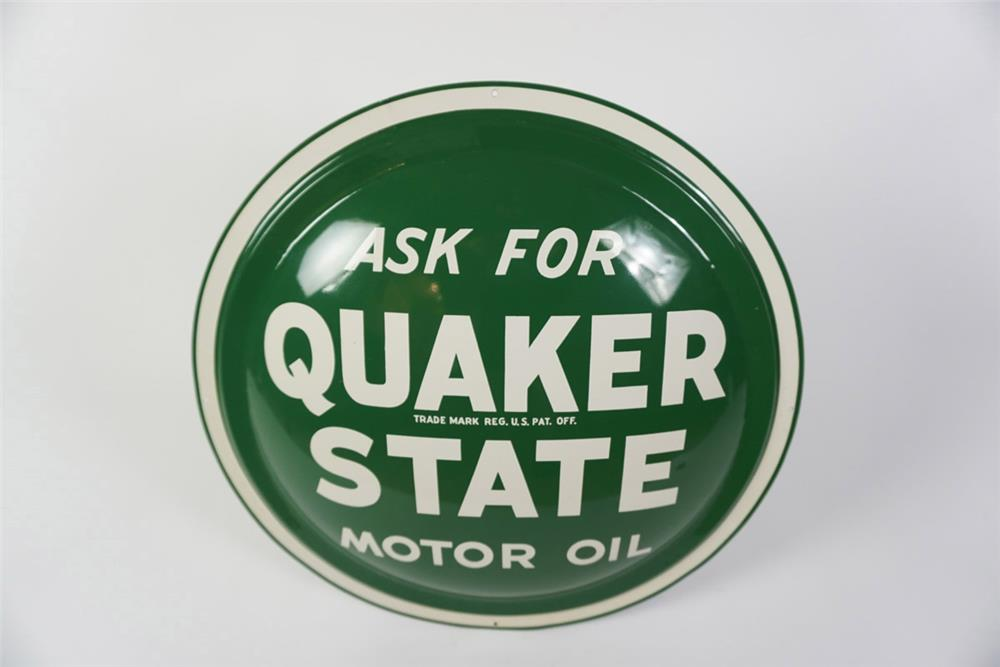"NOS Quaker State Motor Oil singe-sided concave ""Bulls-Eye"" tin sign. - Front 3/4 - 186003"