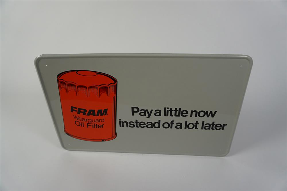 "NOS Fram Oil Filters ""Pay a Little Now"" single-sided self-framed tin automotive garage sign - Front 3/4 - 186025"