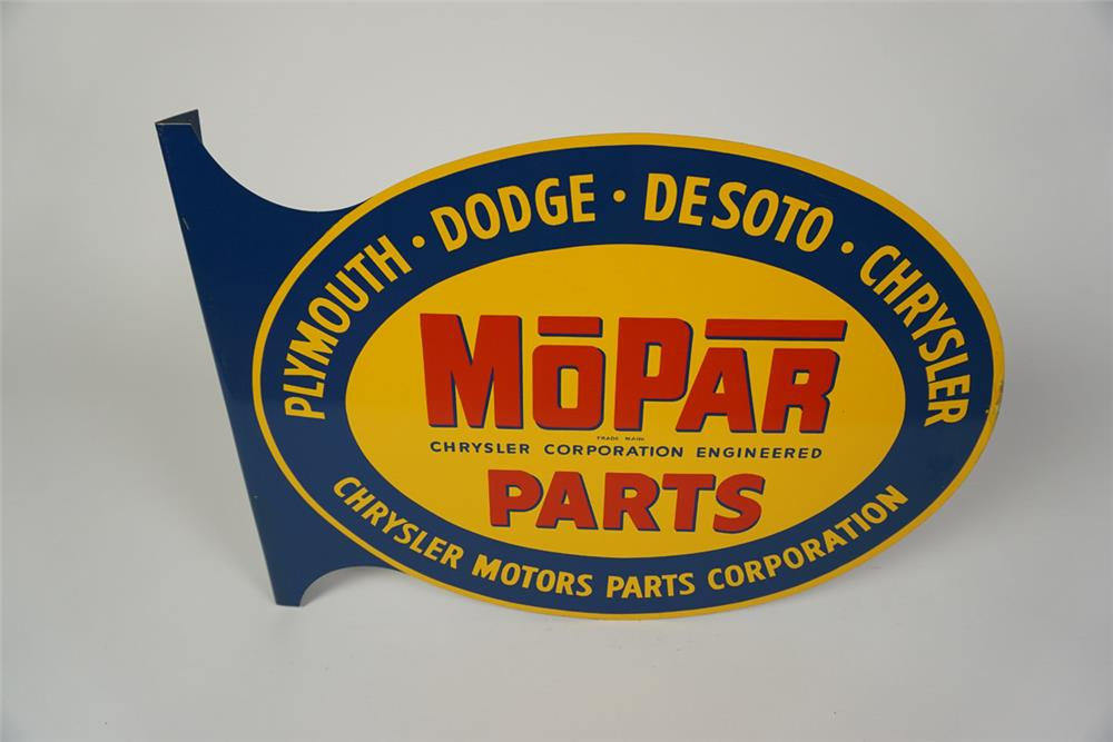 "Hard to find NOS 1950s Mopar Parts ""Plymouth-Dodge-Desoto-Chrysler"" double-sided tin automotive garage flange. - Front 3/4 - 186030"