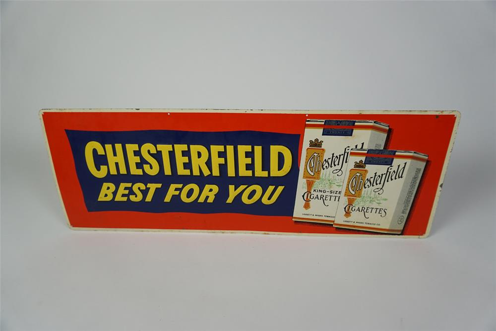 """NOS 1950s Chesterfield """"Best for You"""" single-sided embossed tin general store sign with cigarette pack graphics. - Front 3/4 - 186032"""