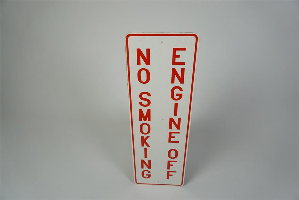 NOS Engine Off - No Smoking single-sided tin service station fuel island sign. - Front 3/4 - 186039