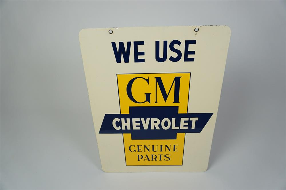 Desirable circa late 1950s early 1960s GM Chevrolet Genuine Parts double-sided tin dealership sign - Front 3/4 - 186040