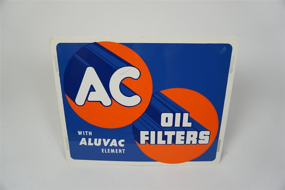NOS 1940s-50s AC Oil Filters with Aluvac Element single-sided tin automotive garage sign. - Front 3/4 - 186042