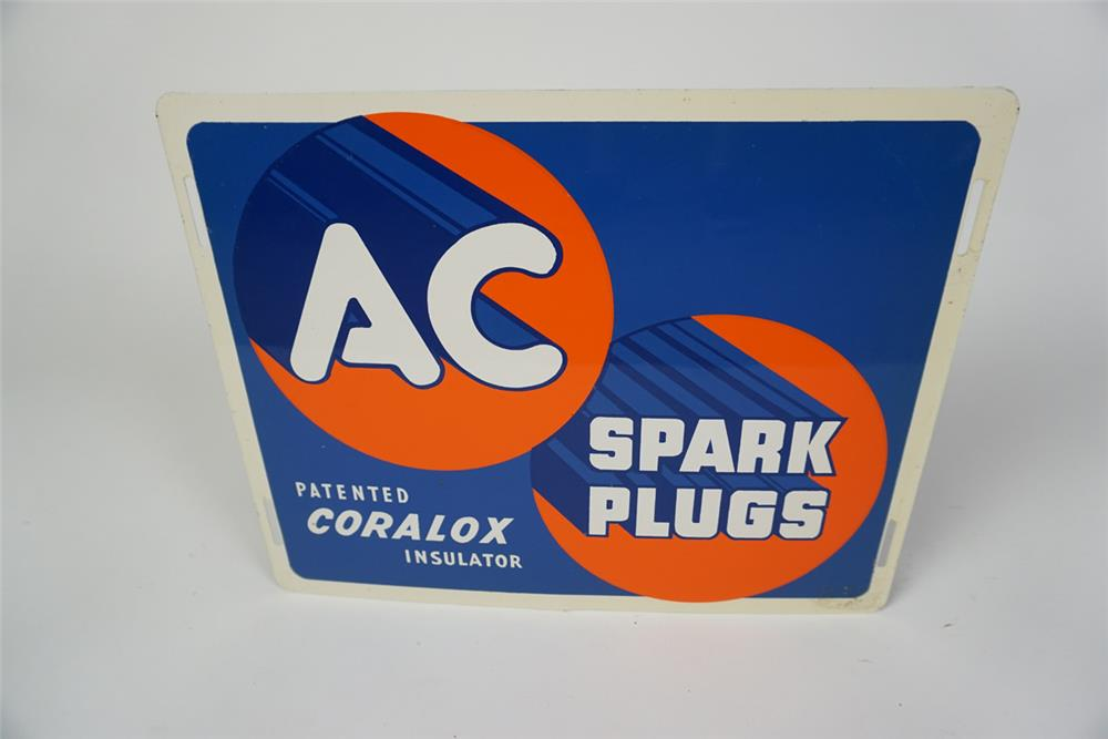 """NOS 1940s-50s AC Spark Plugs """"Patented Coralox Insulator"""" single-sided tin automotive garage sign. - Front 3/4 - 186043"""